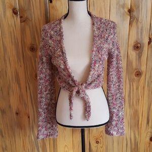 Caslon pink multi color tie sweater